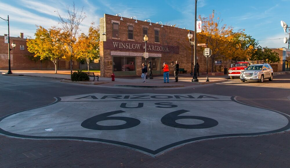 WInslow AZ intersection with 66 on road