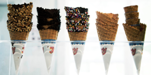 Ice cream cones with Joy Cone food manufacturer wrappers