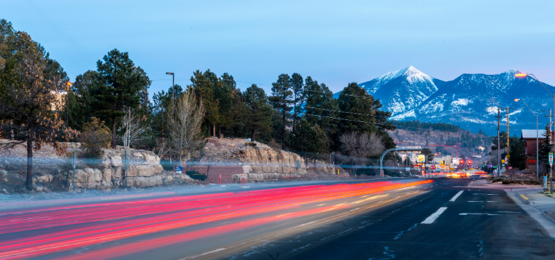 Red tail lights blurred heading into Flagstaff
