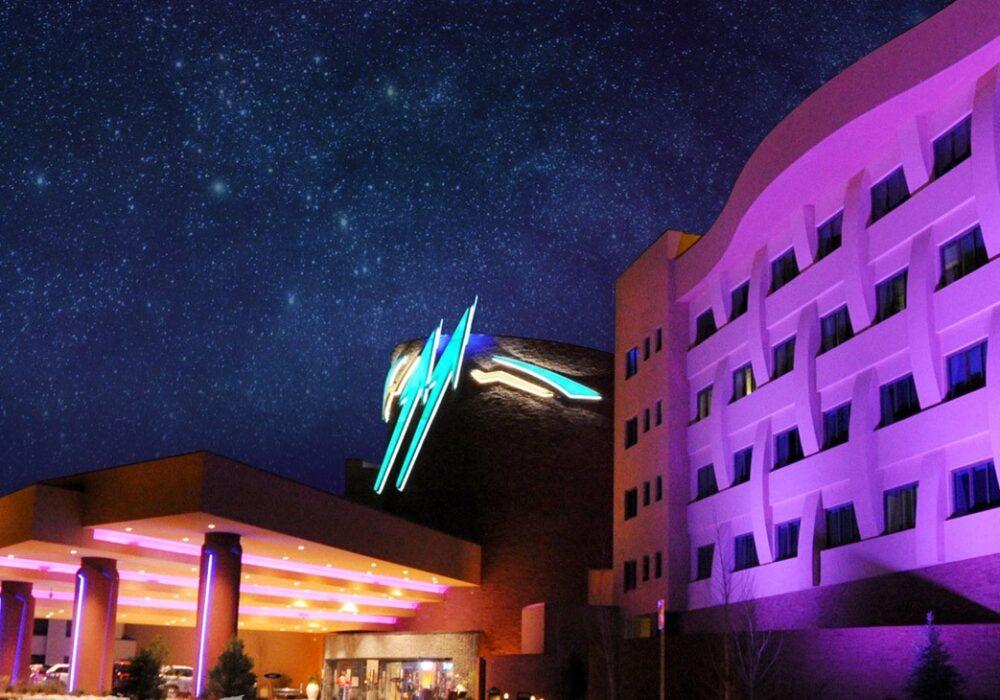 Twin Arrows casino at night